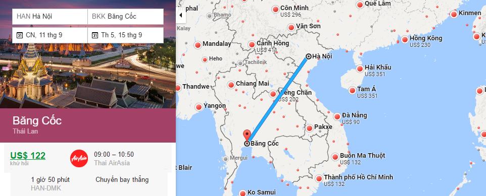 Bản đồ đường bay từ Hà Nội đi Bangkok
