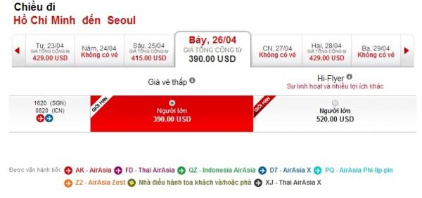 Vé máy bay đi Hàn Quốc Air Asia