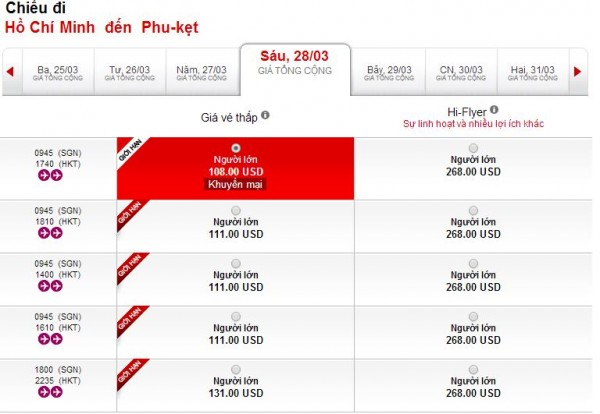 Vé máy bay giá rẻ HCM đi Phuket