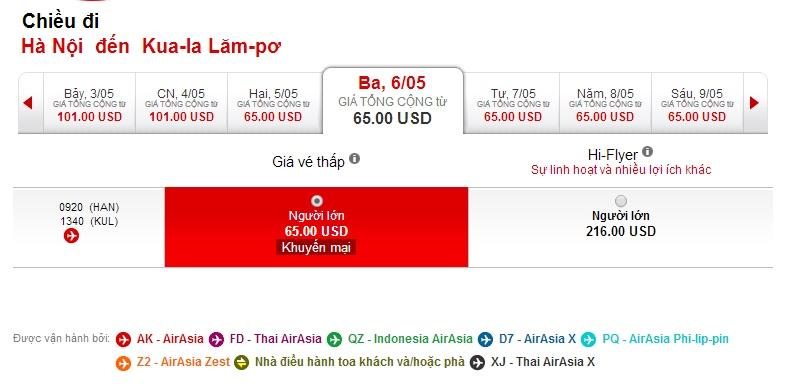 Vé máy bay Air Asia đi Kuala Lumpur giá rẻ