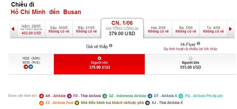 Vé máy bay Air Asia đi Busan
