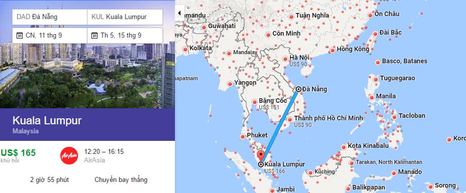 Bản đồ đường bay từ Đà Nẵng đi Kuala Lumpur