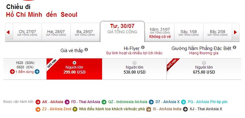 Vé máy bay Hồ Chí Minh đi Hàn Quốc