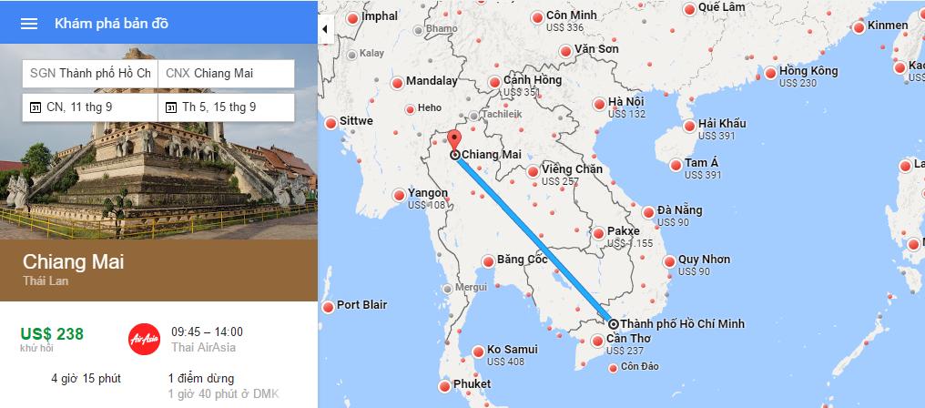 Bản đồ đường bay Hồ Chí Minh - Chiang Mai