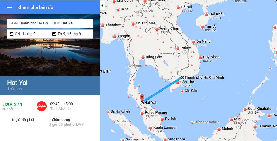 Bản đồ đường bay Hồ Chí Minh đi Hat Yai