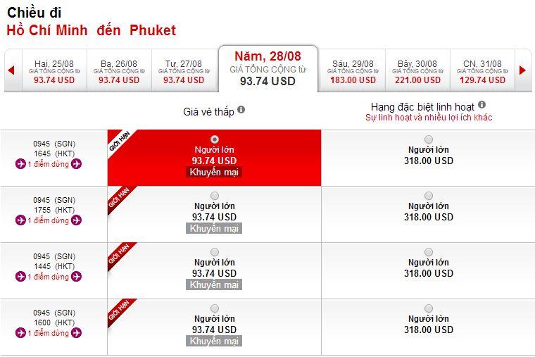 Vé máy bay Hồ Chí Minh đi Phuket giá rẻ