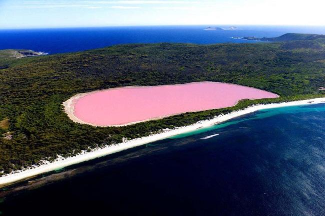 Khác lạ hồ nước màu hồng ở Úc