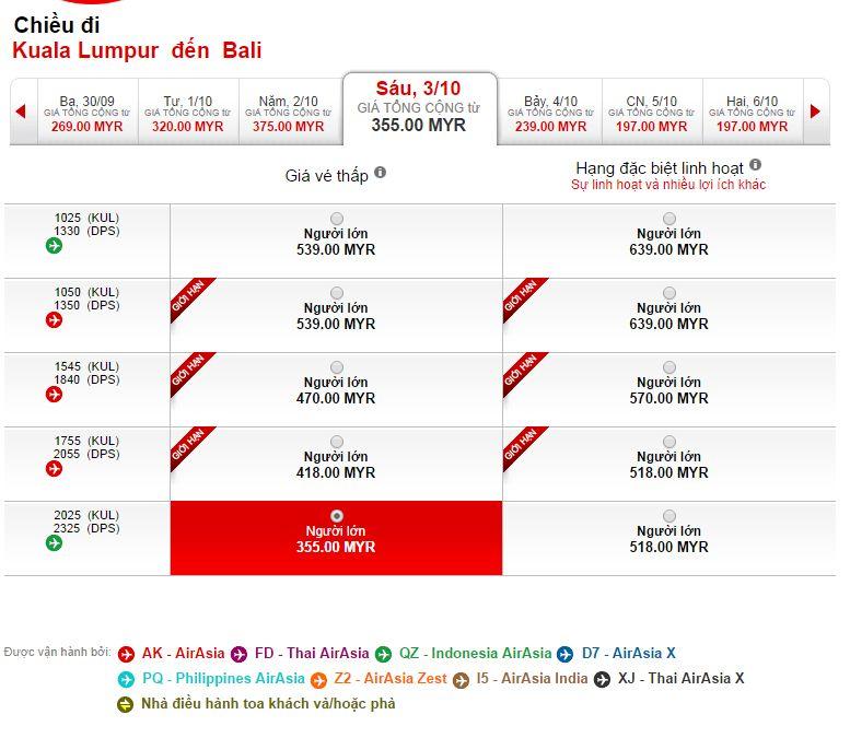 Vé máy bay Air Asia đi Bali bao nhiêu tiền