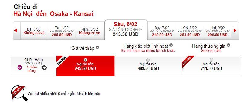 Vé máy bay giá rẻ đi Osaka