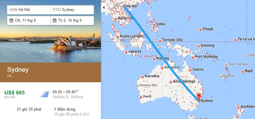 Bản đồ đường bay từ Hà Nội (VN) đến Sydney (Úc)