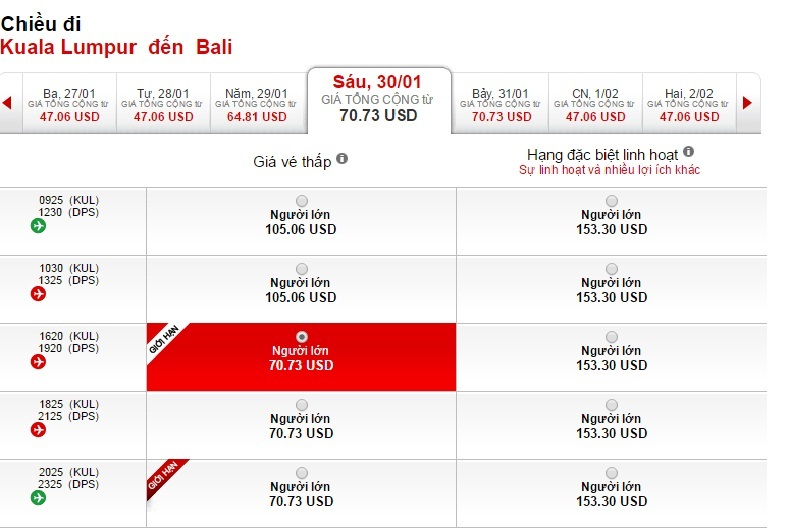 Vé máy bay từ Hồ Chí Minh đi Bali