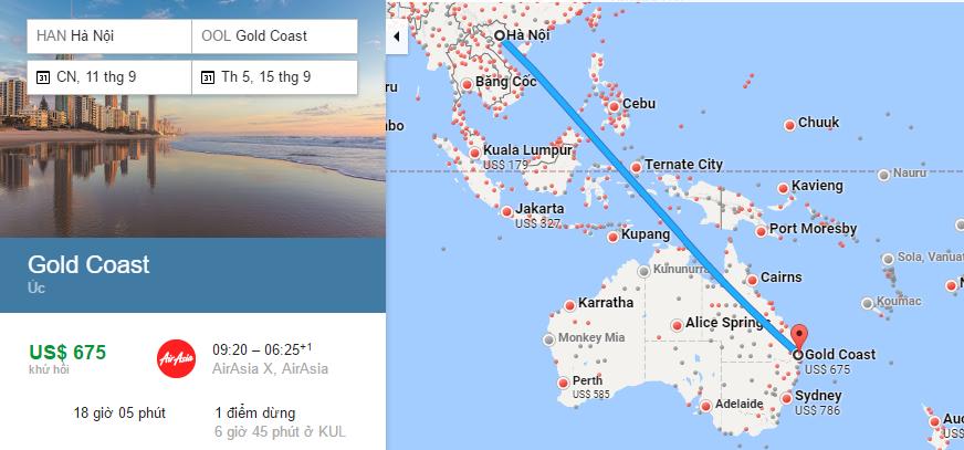 Bản đồ đường bay từ Hà Nội đi Gold Coast