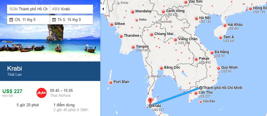 Bản đồ đường bay từ Hồ Chí Minh đi Krabi