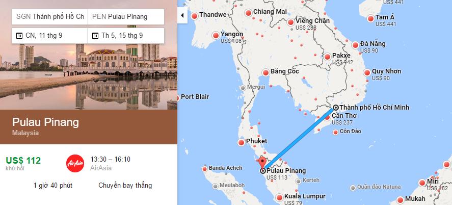 Bản đồ đường bay từ TP HCM đi Penang