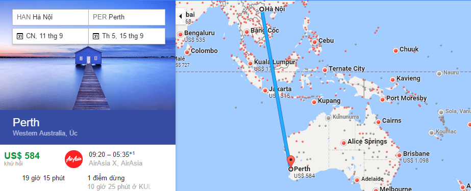 Bản đồ đường bay từ Hà Nội đi Perth