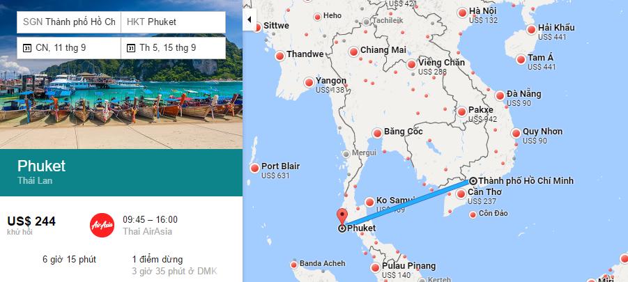 Bản đồ đường bay từ Hồ Chí Minh đi Phuket