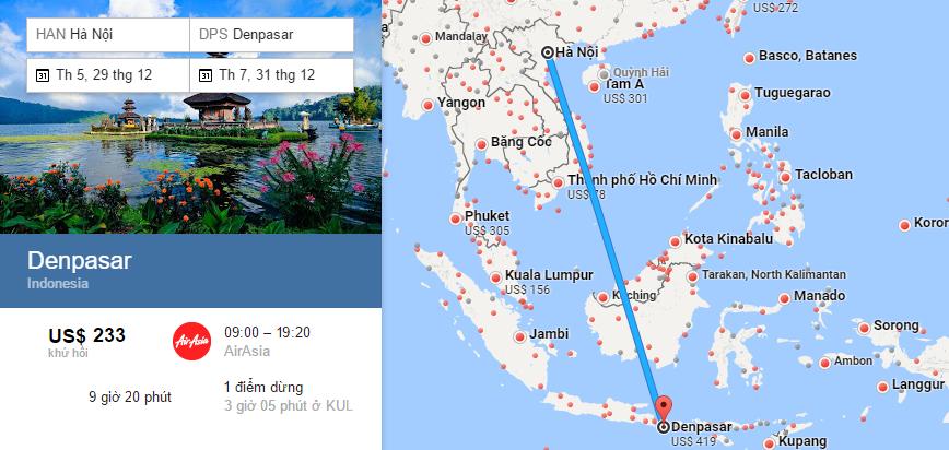 Bản đồ đường bay từ Hà Nội đi Bali