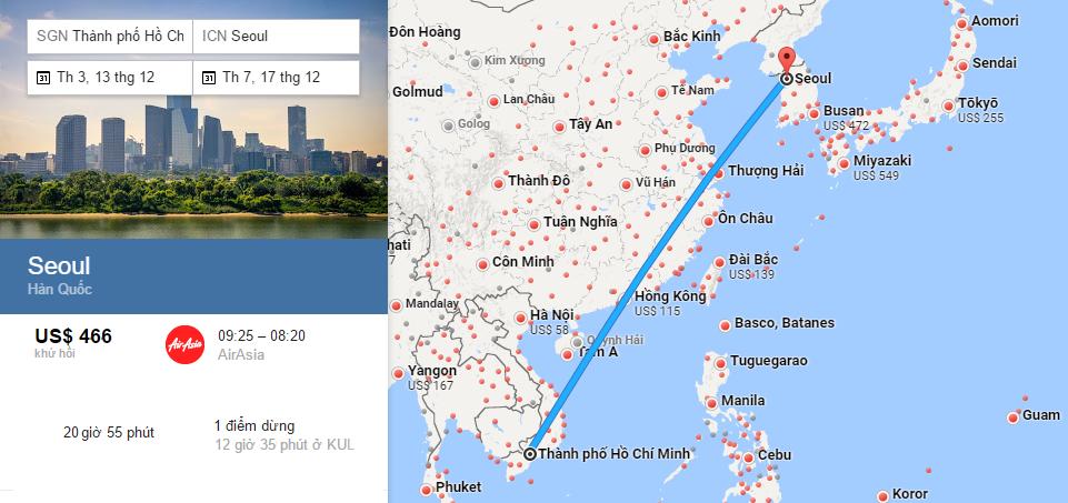 Bản đồ đường bay từ Hồ Chí Minh đi Incheon