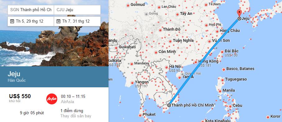 Bản đồ đường bay từ HCM đi Jeju