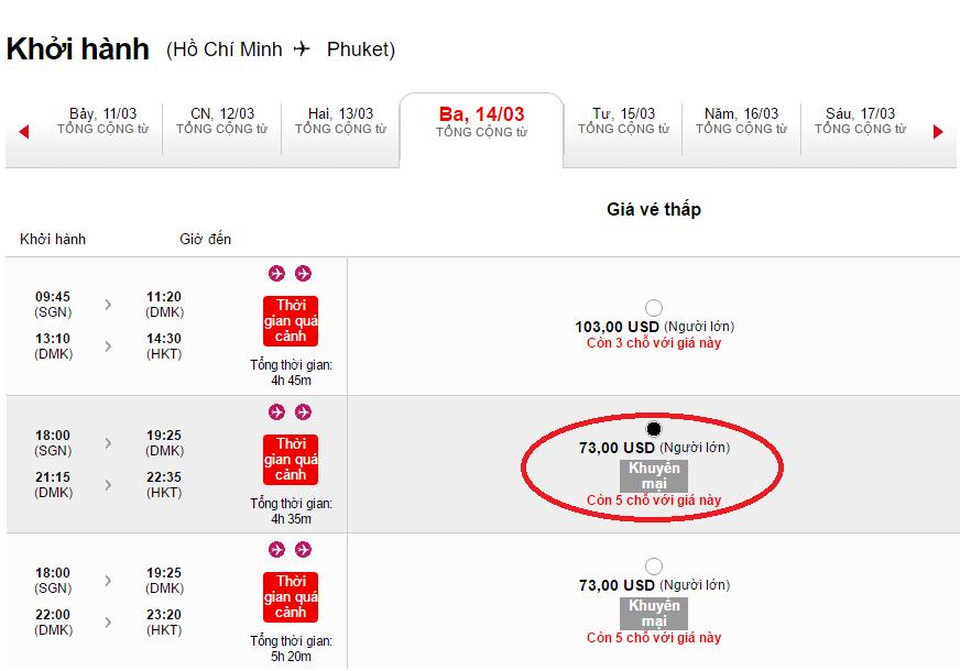 Giá tham khảo chặng Hồ Chí Minh - Phuket