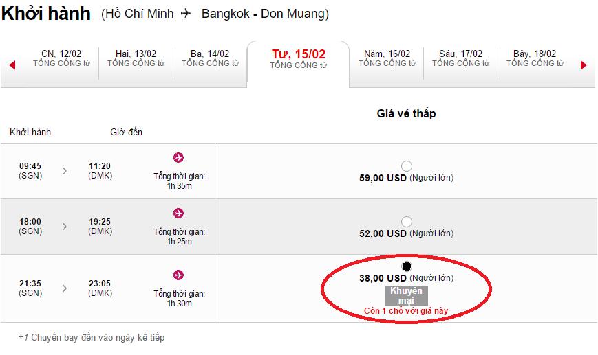 Bảng giá tham khảo chặng HCM - Bangkok