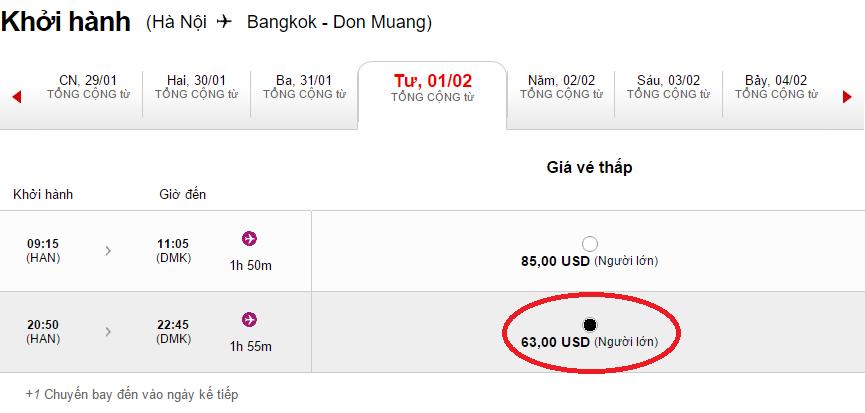Giá tham khảo chặng Hà Nội - Bangkok