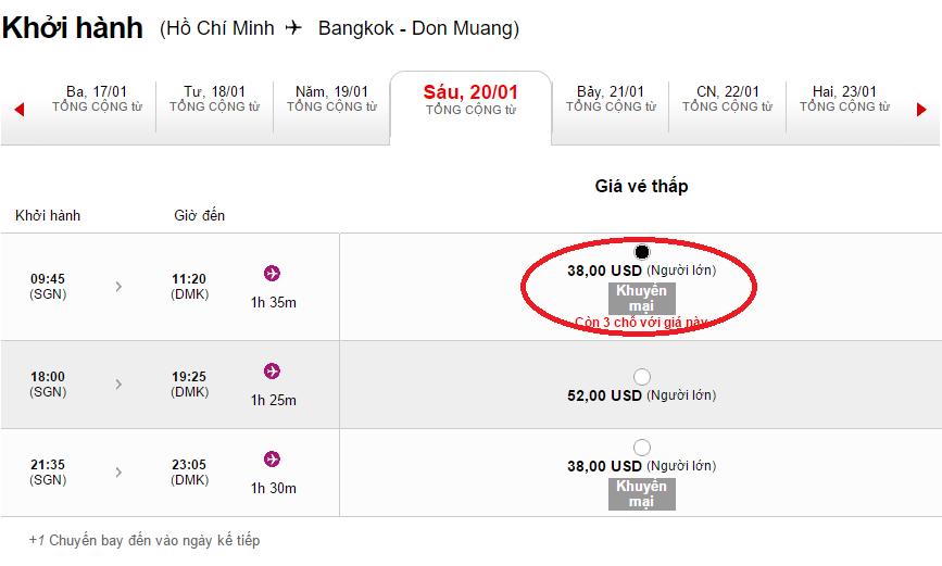 Giá tham khảo chặng Hồ Chí Minh - Bangkok