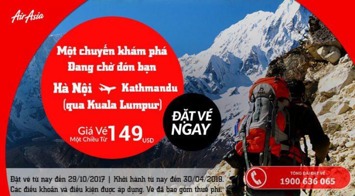 Vé Hà Nội - Kathmandu chi từ 124 USD siêu rẻ của Air Asia