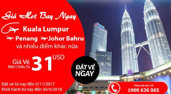 Vé từ 31 USD KM của Air Asia bay châu Á
