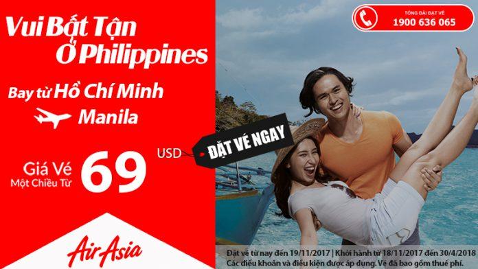 Air Aisa KM vé đi Manila giá rẻ