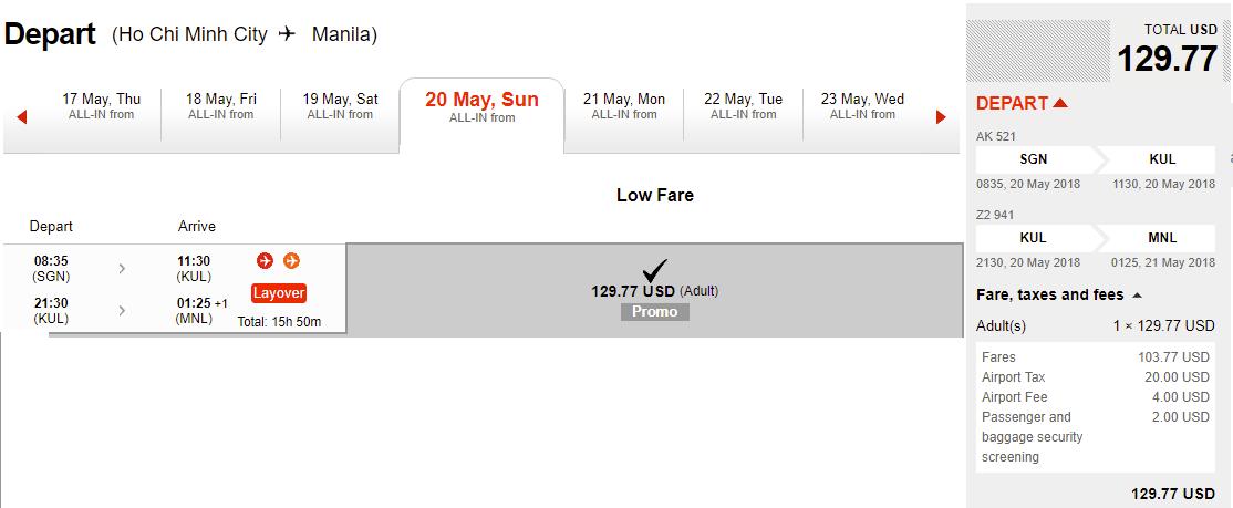 Mẫu giá vé đi Manila khuyến mại của Air Asia