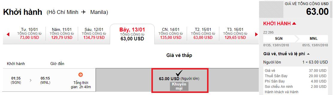 Hành trình HCM - Manila chỉ từ 63 USD