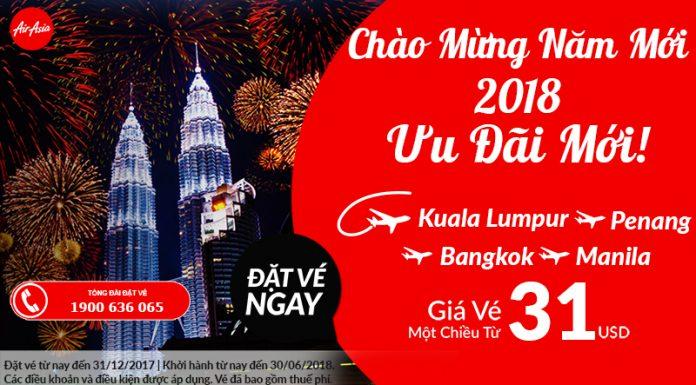 Đón năm mới 2018 - Air Asia KM vé 1 chiều chỉ từ 31 USD