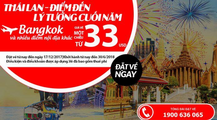 Air Asia KM vé đi Thái Lan chỉ từ 33 USD