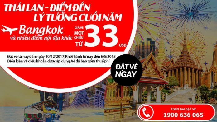 Air Asia KM vé đi Thái Lan từ 33 USD