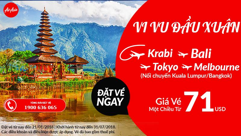 Air Asia khuyến mãi vé chỉ từ 71 USD/chiều
