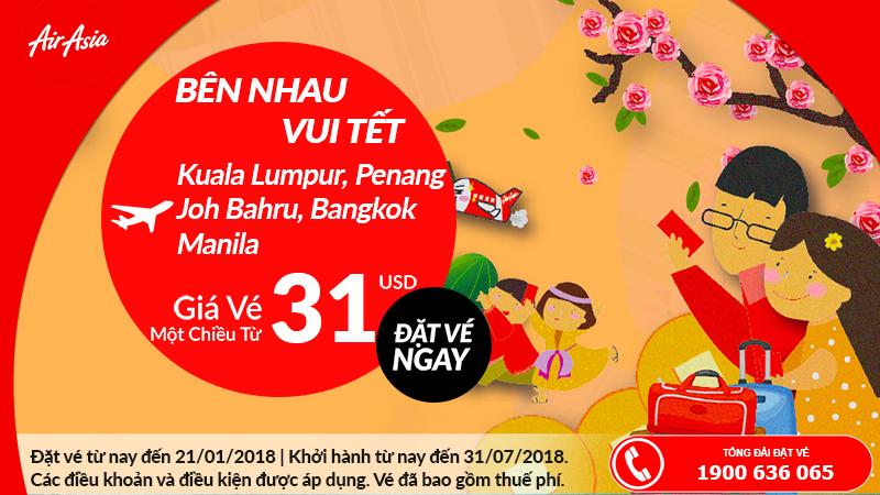 Air Asia khuyến mãi vé 1 chiều chỉ từ 31 USD