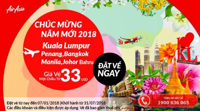 Air Asia ưu đãi giá vé chỉ từ 33 USD/chiều