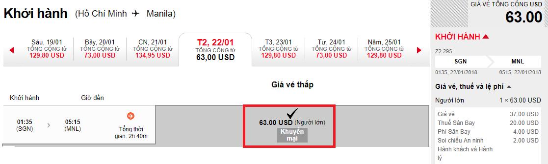Hành trình HCM - Manila vé chỉ từ 63 USD