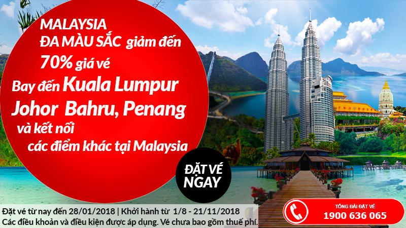 Air Asia giảm giá vé đi Malaysia