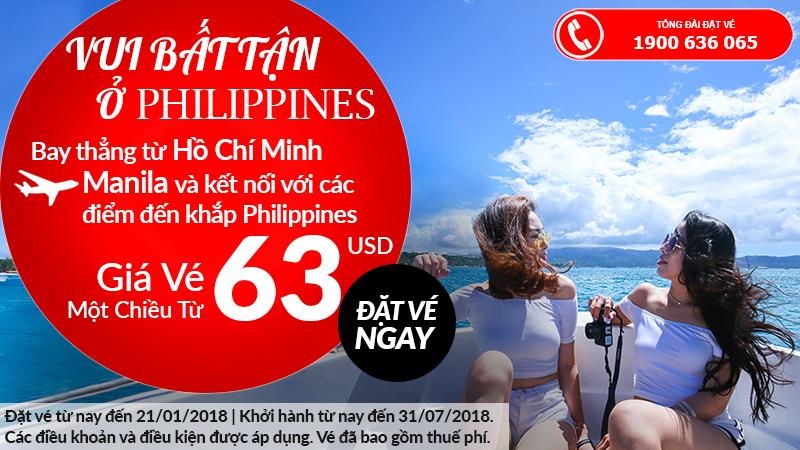 Vé máy bay đi Manila chỉ từ 63 USD