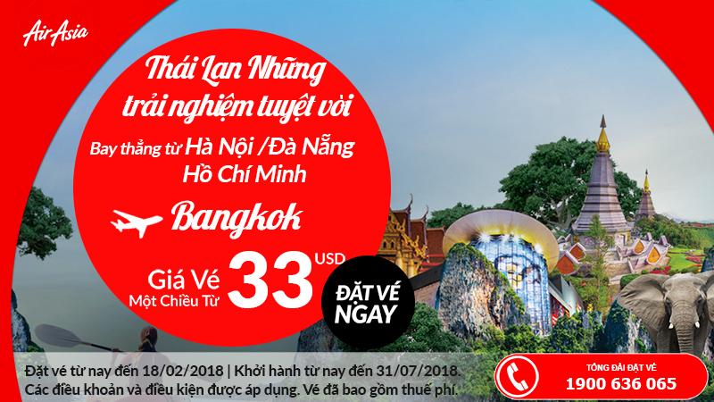 Air Asia mở bán vé đi Bangkok chỉ từ 33 USD