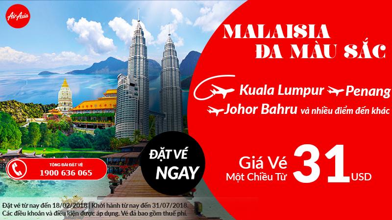 Air Aisa mở bán vé máy bay đi Malaysia chỉ từ 31 USD