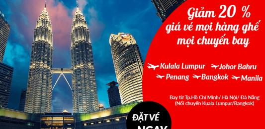 Air Asia ưu đãi giảm giá vé đến 20% mọi hành trình bay