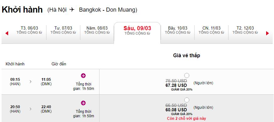 Giá vé Hà Nội đi Bangkok khuyến mãi