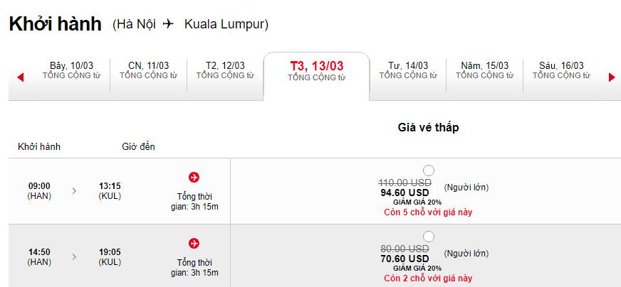 Giá vé đi Kuala Lumpur
