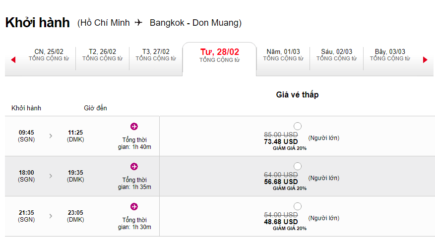 Hành trình Hồ Chí Minh - Bangkok giá vé giảm 20%