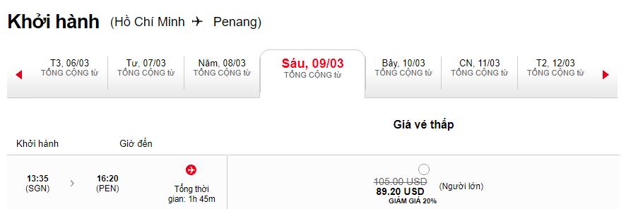Giá vé Hồ Chí Minh đi Penang giá rẻ