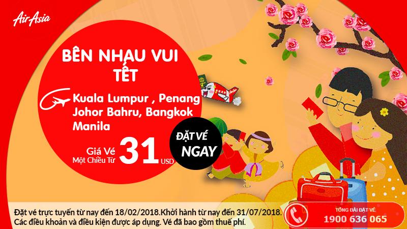 Air Asia mở bán vé một chiều chỉ từ 31 USD
