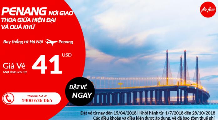 Air Asia mở đường bay thẳng Hà Nội đi Penang